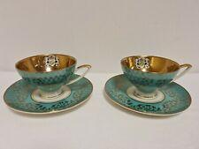 Vintage Alka Kunst 770 Porcelain Demitasse coffee Cups & Saucers aqua 22ct Gold