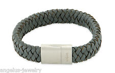 Alraune, Leather Wrist Band Extreme 19 cm , Grey, Stainless Steel/Magnet, 104821