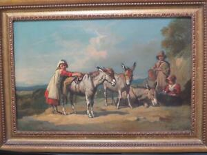 Charming Children & Donkeys 1860 Oil by JF Barker Delightful Quality Image