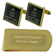 Don'T Feed Animals Gold-Tone Cufflinks Money Clip Engraved Gift Set