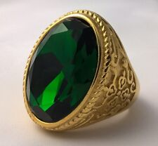 G-Filled 18k yellow gold simulated Mens emerald ring 28.4gs medieval green GIANT