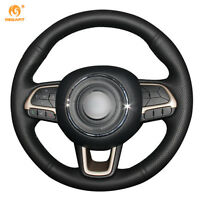 Black Leather Steering Wheel Cover for Jeep Compass 2017 Renegade 2016-17 #GB04