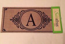 "Sassafras Insert Door Mat Burlap Monogram "" A "" Decorative Or Pet Food Mat New"