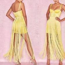 Yellow fringe bandage bustier dress