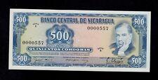 NICARAGUA  500 CORDOBAS  D. 1979 LOW # 0000557  PICK # 133  UNC.