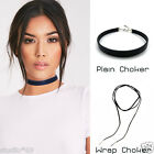 Retro Women Black Velvet Boho Choker Necklace Long Rope Silver Leaf Plain 20mm