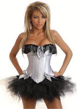 Womens Silver Corset Burlesque Ladies Fancy Dress Costume Size 8-10