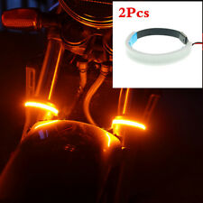 2Pcs PVC 45-70MM Universal Motorcycle Fork Turn Signals Light Amber LED Strips