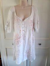 **WHITE STUFF** white linen tunic/dress - embroidered - Size 12 - nightie