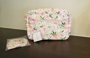 Pink Floral Cosmetic Makeup Bag With Mask a GWP from Macy's Large w Outer Pocket