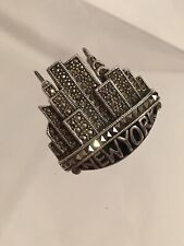 York Skyline Brooch Pin 18 Gs Vintage Judith Jack Sterling Silver Marcasite New