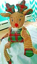 Hugglehounds Christmas Reindeer Plaid Reindeer Dog Toy Corduroy Plush