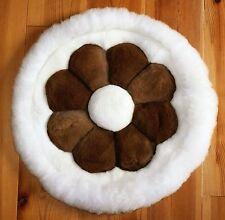 Alpaka Fell Kissen weich, D= 40 cm, Alpaca Blume braun, Sofa Sessel Deko Peru