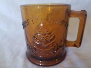 Humpty Dumpty & Tom Tom The Piper's Son Vintage Amber Glass Cup Mug