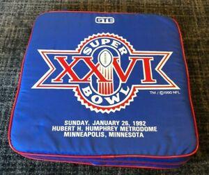 1992 NFL Super Bowl XXVI Original Seat Cushion Washington Redskins Buffalo Bills