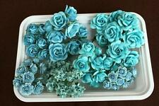 70 Aqua mulberry paper flowers kit scrapbooking card making reusable container
