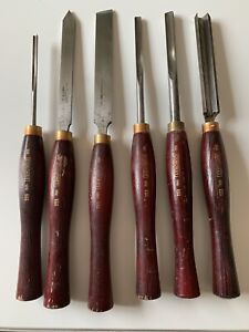 6 x Quality Coronet Wood Turning chisels, Sheffield steel used ex condition