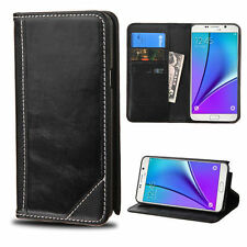 MYBAT Black Genuine Leather Classic Wallet Flip Case for Samsung Galaxy Note 5 Water Resistant Cell Phone Cases