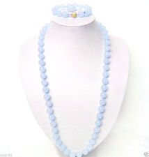 Fashion 10mm Natural Blue Jade Round Beads Necklace Bracelet Earrings Set