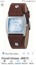 Fossil JR8133 Stainless Steel Gents/Unisex Analogue Blue Dial Leather Cuff Watch