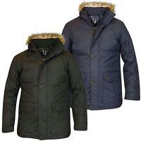 New Men's Soulstar Parka Designer Padded Coat Hooded Zip Faux Fur Trim Jacket