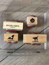 STAMPIN UP HALLOWEEN FRIGHTS DOUBLE MOUNT WOOD STAMP SET OF 8 STAMPS
