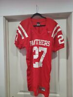 Nike game-cut/on-field red PANTHERS #27 football jersey (adult size L)