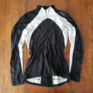 Gore Small Cycling Jersey Long Sleeve LS S Black White Warm
