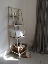 4 Tier Bookshelf Metal Frame Shabby Chic Artisan Antique White Colour Finish