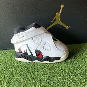 Nike Air Jordan 8 Retro Toddler White Black Black Red  305360-104 Size 3C