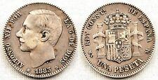España-Alfonso XII. 1 Peseta 1883*18-83. Madrid. MBC/VF. Plata 5 g. Escasa