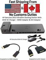HP 2013 UltraSlim Docking Station, 65W Charger, HDMI, DVI, VGA, DP, D9Y32