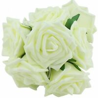 20pcs DIY Bridal Wedding Bouquets Artificial Flower Ivory Feel Real Rose Flowers