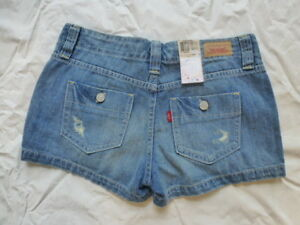 NWT JUNIORS LEVIS SHORTY SHORT JEAN SHORTS 37431-0002 $36 DISTRESSED