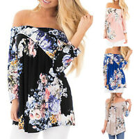 Womens Summer Casual Off Shoulder Blouse Ladies Floral T Shirt Tops Plus Size