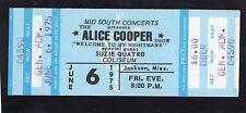 1975 Alice Cooper Suzie Quatro Unused Concert Ticket Welcome To My Nightmare