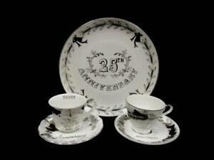 Lot of 25th Anniversary Dishes Tea Cups Plates Tray Norcrest Fine China Lefton