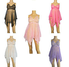 Lace Lingerie Nightgown Chemise & G-String Set Sexy Nightwear 5 colour Size M-L