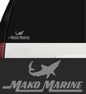 Mako Marine Vinyl Sticker Decal Fish Fishing Ocean Boat Angler Tuna Silver 6 In