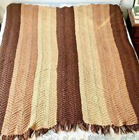 "Handmade Afghan Blanket Multi Color Brown Acrylic Yarn 97"" x 67"""