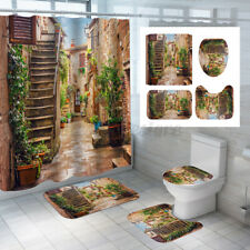Beautiful Garden Waterproof Shower Curtain Bathroom Toilet Seat Cover Mat Set