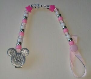 BABY BOY/GIRL BLING MINNIE OR MICKEY MOUSE PERSONALISED DUMMY HOLDER CLIP