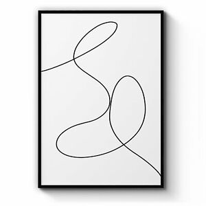 Minimal Line Drawing Wall Art #6: Print, Canvas or Framed
