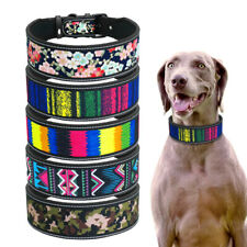 Adjustable Dog Collar Padded for Medium Large Dogs Colorful Pattern Rottweiler