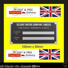 Reliant Robin Regal Scimitar Bond Bug Rialto Kitten all-blank-vin-chassis-plate