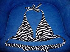 Victoria's Secret VS Very Sexy push up halter top swim suit sz M zebra tiger EUC