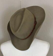 country gentleman hat Cowboy 100% Wool Leather Belt Buckle Tan Khaki Medium