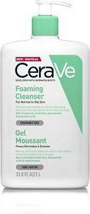 Cerave Foaming Cleanser   1L/35Oz   Family-Sized Face and Body
