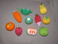 KNIT CROCHET FRUIT AND VEGETABLE BABY TODDLER STUFFED TOY RATTLE SET LOT OF 10