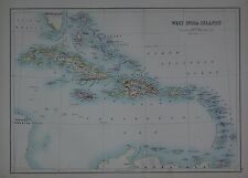 1897 WEST INDIA ISLANDS LARGE MAP